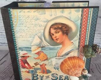 Vacation Photo Album - Photo Album - Mini Album - By The Sea - Ocean Album - Water Album - Scrapbook - Memory Book - Premade Album - Brag