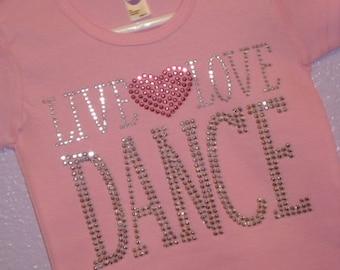 LIVE LOVE DANCE rhinestud tee by Daisy Creek Designs
