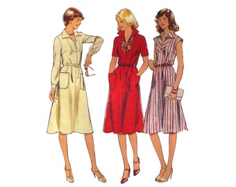 Style 1882, sewing pattern, size 10-12 bust 32 1/2-34 1/2 women's collared dress pattern, cinched waist, sleeveless