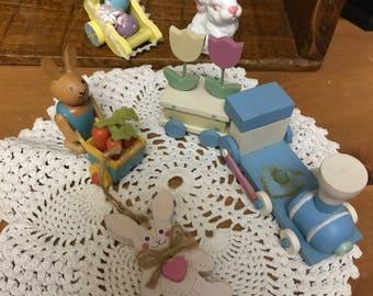 Vintage lot of 6 easter, spring miniature figurines.