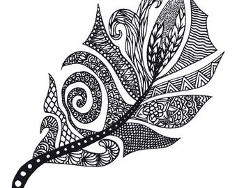 Feather Colouring Page