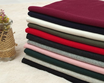 2x1 Ribbing Knit Fabric, Half Yard - Navy, Ivory, Khaki, Red, Charcoal, Heather Gray, Pink, Dark Green, Oatmeal or Black - 94906