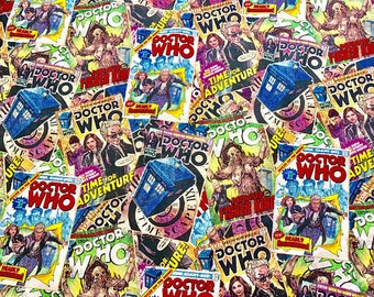 Tardis Fabric, Doctor Who Fabric, BBC, Comic Book Toss, by the Metre, Tardis, Peter Capaldi, 12th Doctor, Doctor Who, Fabric