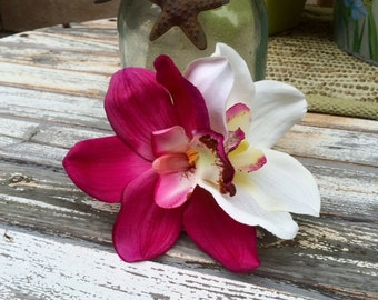 Tropical orchids fuschia and white hair clip