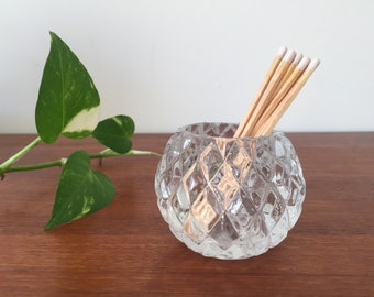 Vintage Glass Candle Holder with Diamond cut pattern