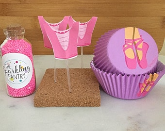 Ballerina Cupcake Kit with Sprinkles, Liners and Toppers, Decorating Kit (24)