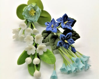 Blue and White Miniature Handcrafted Polymer Clay Flowers Supply for Dollhouse and Wedding Gifts