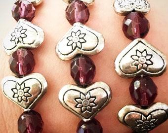 26 Hearts Bracelet in Purple
