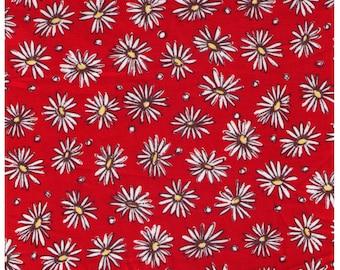 HALF YARD Yuwa - White Daisies and Dots on Red - Suzuko Koseki - Japanese Import Fabric - Yellow and black Sketches - Last Chance