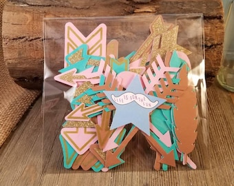 feathers and arrows crafts, feathers and arrows party supplies, feather die cut, feather for crafts, boho embelishments, tribal party decor