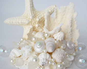 Beach Wedding Cake Topper, Nautical Wedding Cake Topper, Starfish Wedding Cake Topper, Sea Glass Wedding Cake Topper, Shell Cake Topper