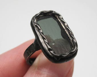 Dark Mood - Sterling Silver Stained Glass Ring - Size 8.5
