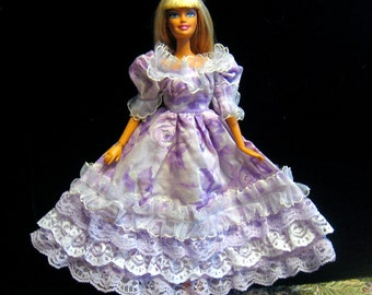 Barbie Dress Lavender Flower Print with Lace Ruffles