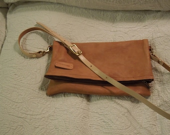 leather fold over cross body/clutch in deerskin hide with zip and detachable adjustable strap brown tan black