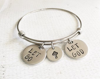 Let go Let God - Catholic jewelry - Cross bracelet - Hand stamped bracelet with let go let God and a hand stamped cross- Faith bracelet