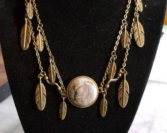 """16"""" Picasso Jasper cabochon necklace with feathers and leaf toggle ends"""