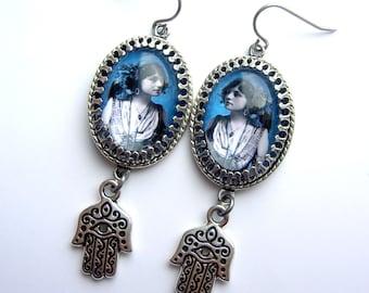 Blue Gypsy Earrings - Hamsa Earrings - Evil eye earrings - turquoise earrings - gypsy earrings - boho earrings - festival earrings