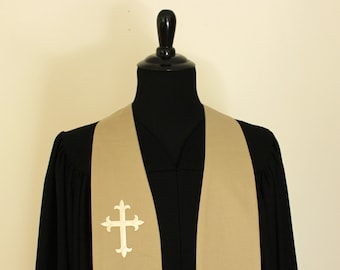 "Clergy Stole, Khaki #86, Ivory Cross, Pastor Stole, Minister Stole, 54"" Length, Pastor Gift, Vestments"