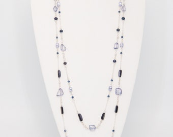 Iolite and Pearl Sterling Silver Necklace Set