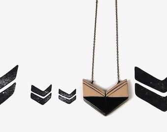 chevron necklace / black and tan arrow pendant / minimal jewelry
