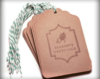 Season's Greetings Tag Set 10 Blank holiday gift present tag brown twine
