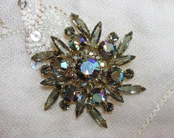 "Vintage Rhinestone Jewelry -  ""Juliana"" Brooch Pin - Verified - Manufactured By DeLizza & Elster - Black Diamond Rhinestones"