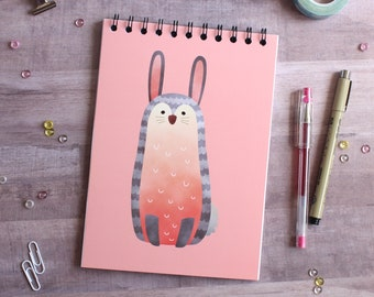NOTEBOOK. A5 Cute Bunny Spiral Notebook. Soft 300 gsm Card Cover. 100 lined pages. Matte lamination pleasant to the touch.