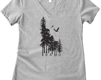 Idaho Wilderness Ladies V Neck Tee