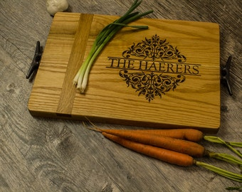 Personalized Engraved Cutting Board Wine Barrel French Oak, White Oak &  Reclaimed Dock Cleat Handles- Housewarming Gift, Anniversary Gift