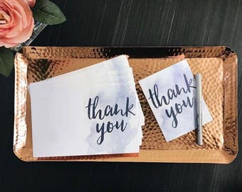 Instant Download Watercolor Splash Thank You Cards / Pale Blue Watercolor / Brush Hand Lettering / Digital Print-at-Home File