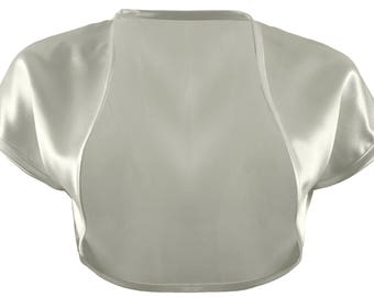 Ladies Silver Satin Bolero Shrug Sizes 4-32