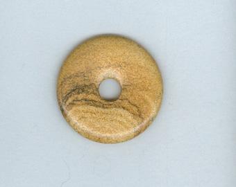 Light Brown Donut, 40mm Brown Picture Jasper Gemstone PI Donut Focal Pendant 3173