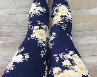 """Leggings for women, ultra comfortable in """"brushed poly"""" polyester/spandex yellow flowers on Navy"""