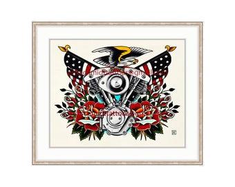 "Harley Davidson Vintage Shovelhead 11""x14"" Giclee Print. V-twin Motorcycle Engine. Rose Tattoo Flash. Vintage Bike. Bald Eagle. Americana."
