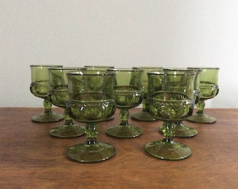 Set of 9 Vintage Green Cordial Glasses
