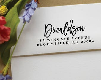 Address Stamp - Self Inking Return Address Stamp - rubber stamp - Custom and Personalized Stamp, Housewarming gift - donaldson