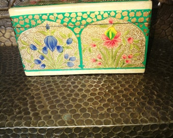 Vintage Papier Mache Card Box , Hand Painted Kashmir Papier Mache Canasta Box , Vintage Playing Cards