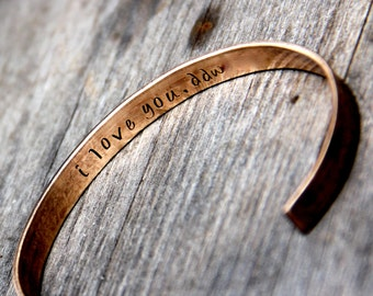 Custom Stamped Cuff Bracelet in Bronze or Aluminum with Secret Message Inside