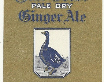 Unused 1930's Blue Goose Pale Dry Ginger Ale Soda Bottle Label From Victoria Springs, George Ritter, Cedarburg, Wisconsin