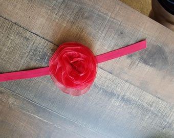 Beautiful Red Rose on a headband