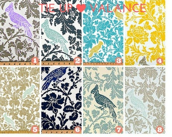 Window Valance - Tie-Up Valance - Sash Valance - Butterfly Valance - Rod Pocket Barber Bird Premier Prints Fabric-Navy-Blue-Gray-Blue-Yellow