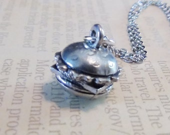 HAMBURGER Necklace - Pewter Charm on a FREE Plated Chain