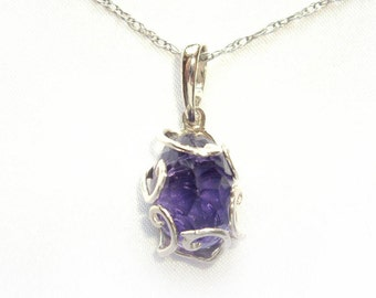 Amethyst necklace Amethyst crystal Gemstone necklace Gift for women Sterling silver necklace Wife gift Mom gift Amethyst sterling silver