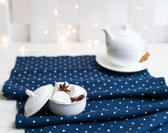 Navy table runner - Navy blue polka dot runner - blue table top - Blue white runner - Blue linen runner - Christmas table decor