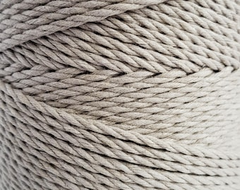 Macrame rope Dyed cotton cord 100 m light gray cotton rope 3mm twisted cotton cord