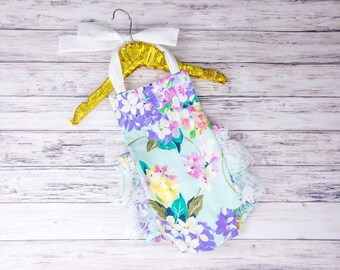 Baby Girl Romper, hydrangea romper and hair bow set, turquoise floral romper, lace romper, girls spring outfit, baby girl Easter outfit