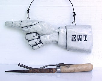 EAT Pointing Finger.  Ready To Ship.  Fired Ceramic.  Recycled Clay.