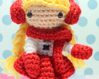 Crochet Amigurumi Cute Girl Angelina Doll PDF Pattern Stuffed Toy Gift Kawaii Red Winter Snow Mitten Earmuffs Scarf