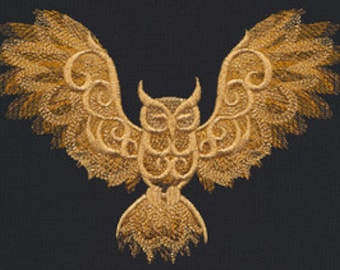 Nocturnal Owl Embroidered Flour Sack Hand/Dish Towel
