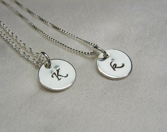 Personalized Bridesmaids Gifts Set of 7 Silver Initial Necklace Monogram Bridesmaid Necklace Bridesmaid Jewelry Gift Bridal Party Gifts